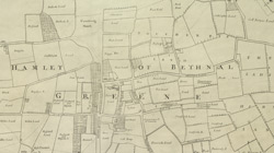 A New & Exact Plan of ye City of LONDON, detail showing Bethnal Green